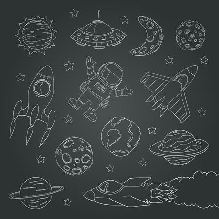 Illustration pour set of cute outer space elements, astronaut, planets, rockets. chalk lines. vector illustration - image libre de droit