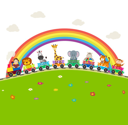 Illustration pour Cartoon railway train with jungle animals with rainbow background. - image libre de droit