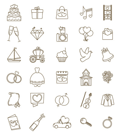 Illustration for Thin line icons wedding set. Outline with adjustable stroke. Engagement and marriage ceremony accesories, objects, symbols. Vector - Royalty Free Image