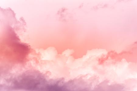 Foto de sky with effect of living coral colors. Color of the year 2019. - Imagen libre de derechos