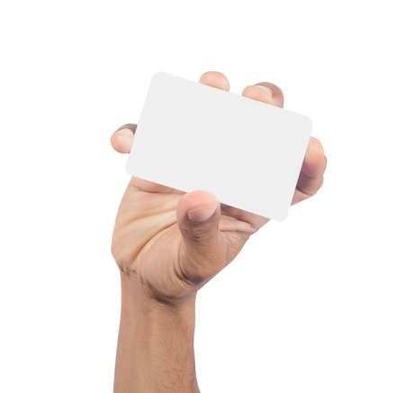 Hand holding card isolated on white background
