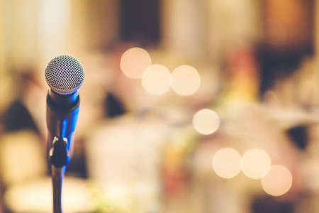 Photo for The microphone in the party is blurred background. - Royalty Free Image