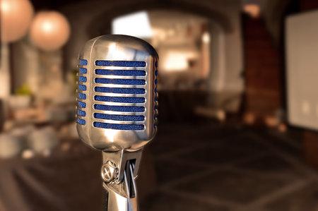 Foto de Vintage old style voice microphone - Imagen libre de derechos