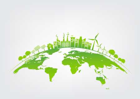 Ilustración de Ecology concept with green city on earth, World environment and sustainable development concept, vector illustration - Imagen libre de derechos
