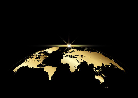 Illustration pour Earth and ray with golden color on black for decoration background, vector illustration - image libre de droit