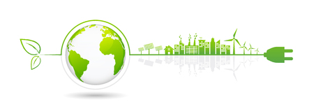 Ilustración de Banner design elements for sustainable energy development, Environmental and Ecology concept, Vector illustration - Imagen libre de derechos