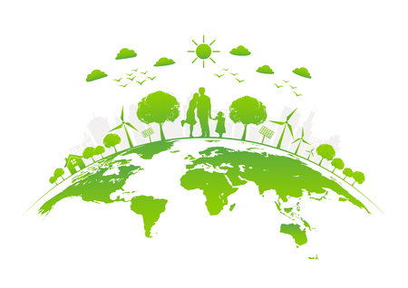 Illustration for Eco friendly with green city on earth, World environment day and sustainable development concept, vector illustration - Royalty Free Image