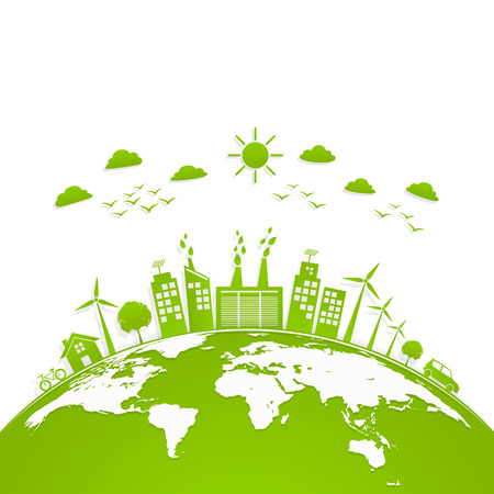 Foto de Ecology concept with green city on earth, World environment and sustainable development concept, vector illustration - Imagen libre de derechos
