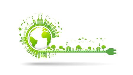 Illustration pour World environment and sustainable development concept, vector illustration - image libre de droit