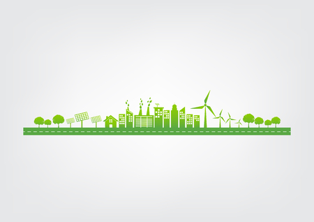Illustration pour Ecology concept with green city on road, World environment and sustainable development concept, vector illustration - image libre de droit