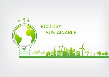 Ilustración de Ecology concept with green city on road, World environment and sustainable development concept, vector illustration - Imagen libre de derechos