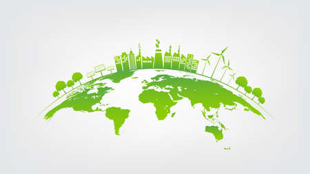 Illustration pour Ecology concept with green city on earth, World environment and sustainable development concept, vector illustration - image libre de droit