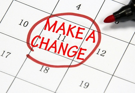 make a change sign written with pen on paper
