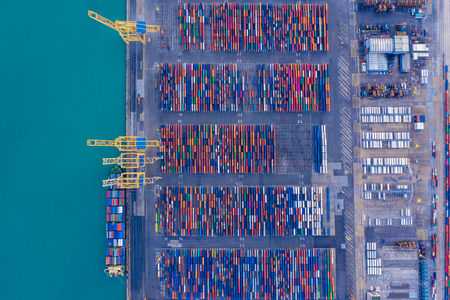 Foto de shipping container in port from above. Unusual original aerial photo. - Imagen libre de derechos
