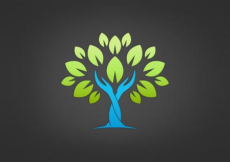Illustration pour tree hand care vector icon - image libre de droit