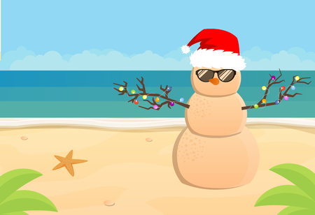 Illustration for Snowman Santa Claus on a sandy tropical beach, flat illustration - Royalty Free Image
