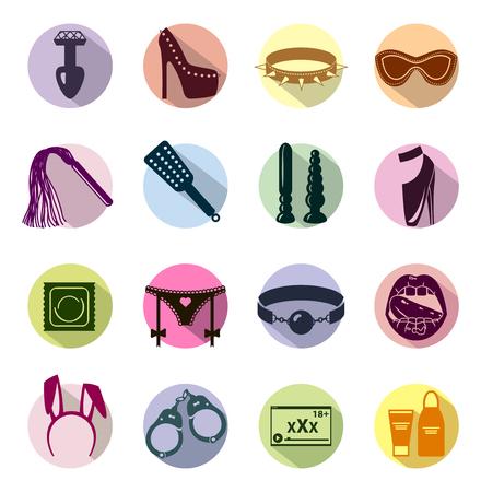 Ilustración de Flat style colored Sex shop icon set, sex toys, bdsm, illustration - Imagen libre de derechos