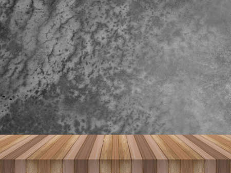 Foto de Empty top shelves or table wood on concrete wall background For product and some thing - Imagen libre de derechos