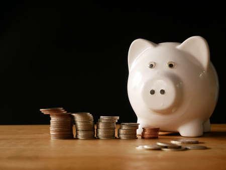 Photo pour piggy bank and coins concept save money - image libre de droit