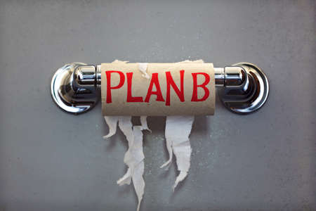 Empty roll of toilet paper with the phrase Plan B