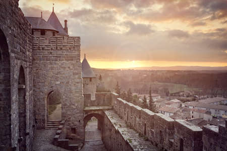 Cite de Carcassonne, medieval walled fortress city in the Languedoc region of France