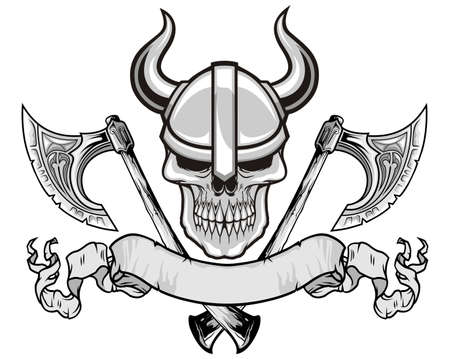 skull with viking helmet and axes