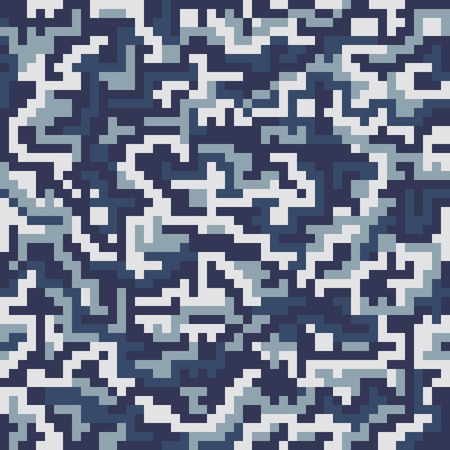 Illustration for Vector military squre camouflage seamless pattern. Vector illustration can be used for wallpaper, pattern fills, web page background, print on fabric or wrapping paper. Navy color combination - Royalty Free Image