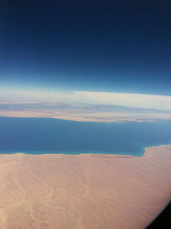 The bluish water of the red sea taken from the plane