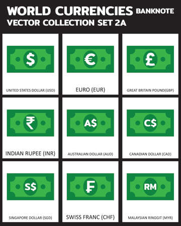 Currency vector Banknote Set 3 COLORS bill, symbols, signs