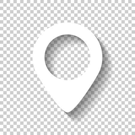 Illustration pour map label icon. White icon with shadow on transparent background - image libre de droit