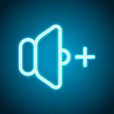Illustration for volume plus icon. Neon style. Light decoration icon. Bright electric symbol - Royalty Free Image