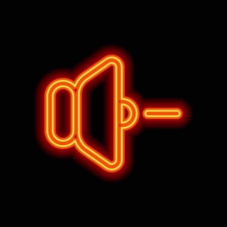 Illustration for volume minus icon. Orange neon style on black background. Light icon - Royalty Free Image
