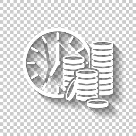 Time is money  Clock and coin stack  Finance icon  White