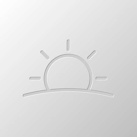 Illustration pour Sunrise icon. Linear, thin outline. Paper design. Cutted symbol. Pitted style - image libre de droit