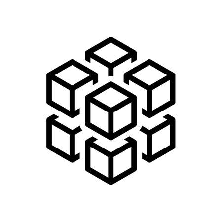 Foto de 3d cube with eight blocks. Icon of rubik or ice pieces. Black icon on white background - Imagen libre de derechos