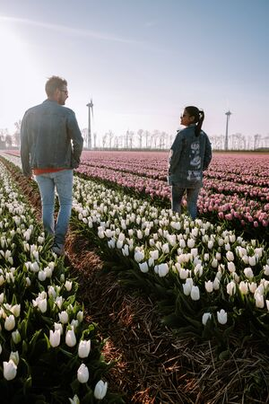 Photo for Tulip flower field during sunset dusk in the Netherlands Noordoostpolder Europe, happy young couple men and woman with dress posing in flower field in the Netherlands - Royalty Free Image