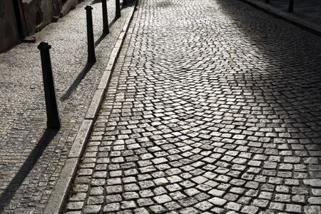 Photo for cobblestones on the street of Prague in the background light on a Sunny evening - Royalty Free Image