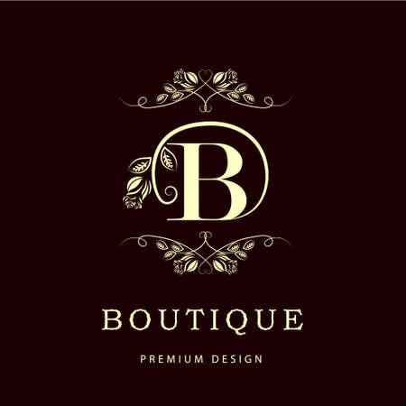 Simple and graceful floral monogram design template. Elegant line art logo design. Letter B. Vector illustration