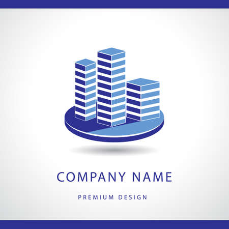 Vector illustration of  Abstract Real estate logo design template. Building silhouette. Offices.