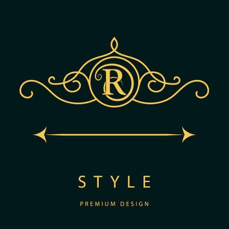 Vector illustration of  Monogram design elements, graceful template. Elegant line art logo design. Letter R. Emblem