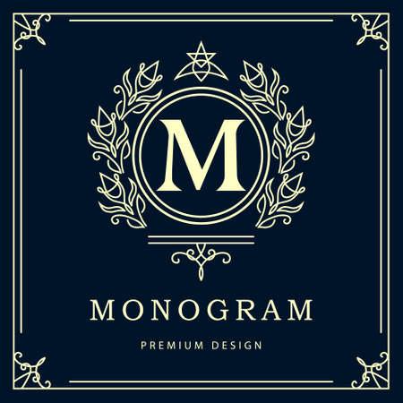 Vector illustration of Monogram design elements graceful template. Elegant line art design. Business sign identity for Restaurant Royalty Boutique Cafe Hotel Heraldic Jewelry Fashion Wine