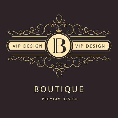 Vector illustration of Monogram design elements graceful template. Elegant line art logo design.