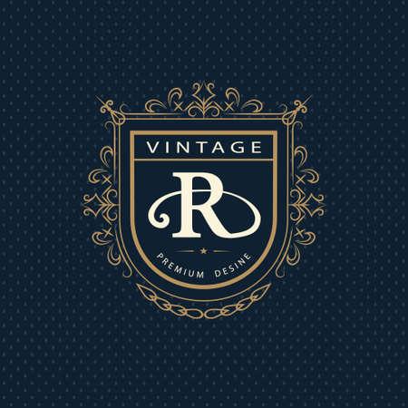 Vector illustration of Monogram design elements, graceful template. Calligraphic elegant line art logo design. Letter emblem R. Business sign for Royalty, Boutique, Cafe, Hotel, Heraldic, Jewelry, Wine.