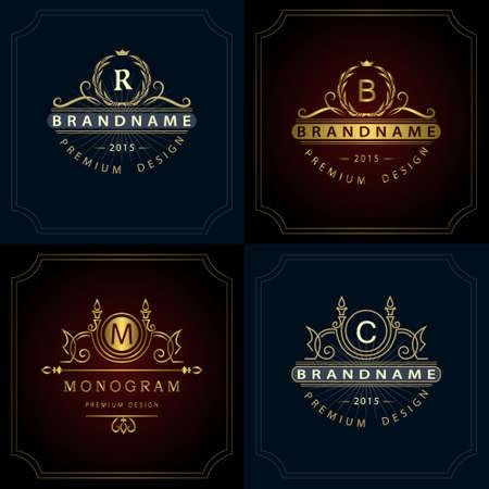Vector illustration of Monogram design elements, graceful template. Calligraphic elegant line art icon design. Letter emblem B, R, M, C for Royalty, business card, Boutique, Hotel, Heraldic, Jewelry