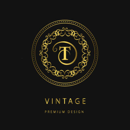 Vector illustration of Monogram design elements, graceful template. Calligraphic elegant line art icon design. Letter emblem sign T for Royalty, business card, Boutique, Hotel, Restaurant, Cafe, Jewelry