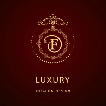 Vector illustration of Monogram design elements, graceful template. Calligraphic elegant line art logo design. Letter emblem sign F for Royalty, business card, Boutique, Hotel, Restaurant, Cafe, Jewelry