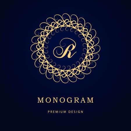 Vector illustration of Monogram design elements, graceful template. Calligraphic elegant line art logo design. Letter emblem sign R for Royalty, business card, Boutique, Hotel, Restaurant, Cafe, Jewelry