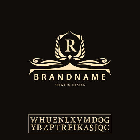 Vector illustration of Luxury Vintage logo. Business sign, label, Letter emblem R for badge, crest, Restaurant, Royalty, Boutique brand, Hotel, Heraldic, Jewellery, Fashion, Real estate, Resort, tattoo, Auctions