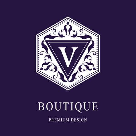 Vector illustration of Monogram design elements, graceful template. Elegant line art logo design. Letter emblem V. Retro Vintage Insignia or Logotype. Business sign, identity, label, badge, Cafe, Hotel
