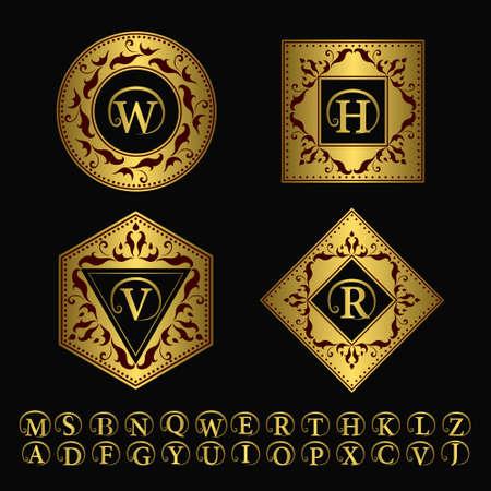 Vector illustration of Monogram design elements, graceful template. Elegant line art logo design. Set of Gold Business sign, identity for Restaurant, Royalty, Boutique, Hotel, Heraldic, Jewelry, Fashion